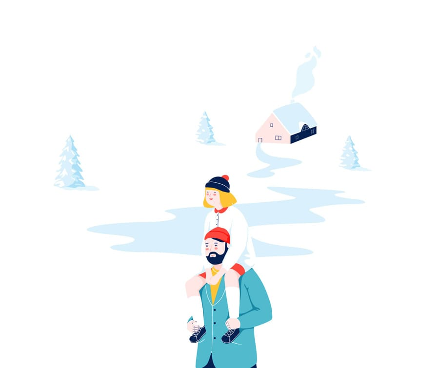 Father & Daughter in winter - WONKY Illustration